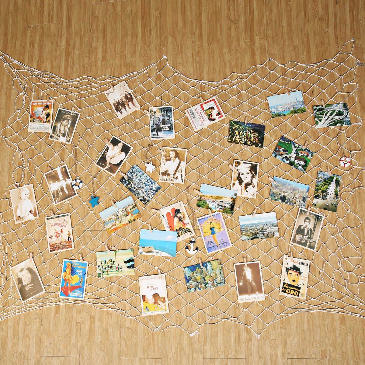 KINGSO 40 x 79 inch DIY Picture Photo Hanging Display Fishing Net Wall Decor 40Pcs Clips 40Pcs Hidden Nails 5Pcs Mediterranean Prop Picture Cards Collage Artworks Organizer White KINGSOokiuhg3646