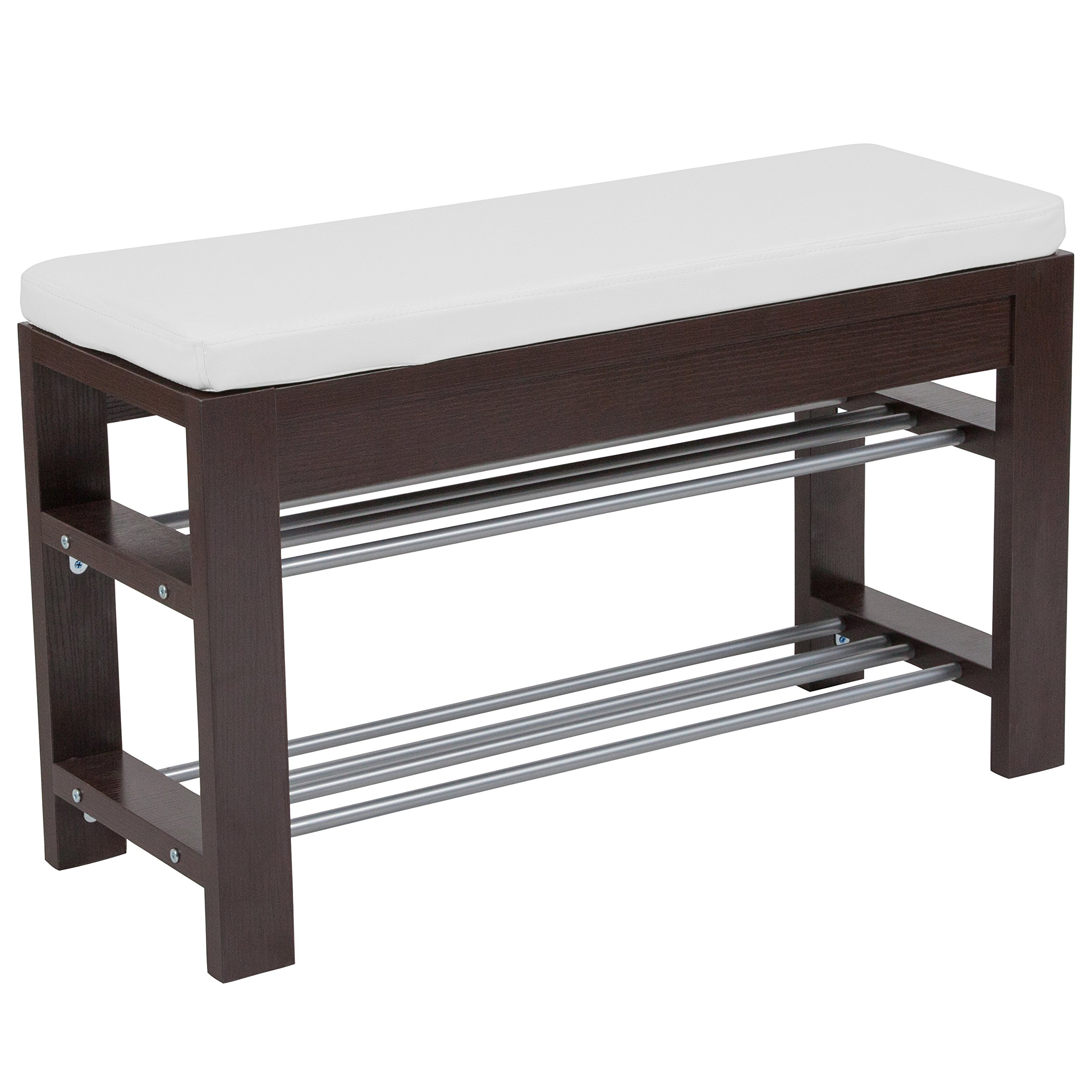 Flash Furniture Bay Ridge Espresso Wood Finish Storage Bench with Cushion