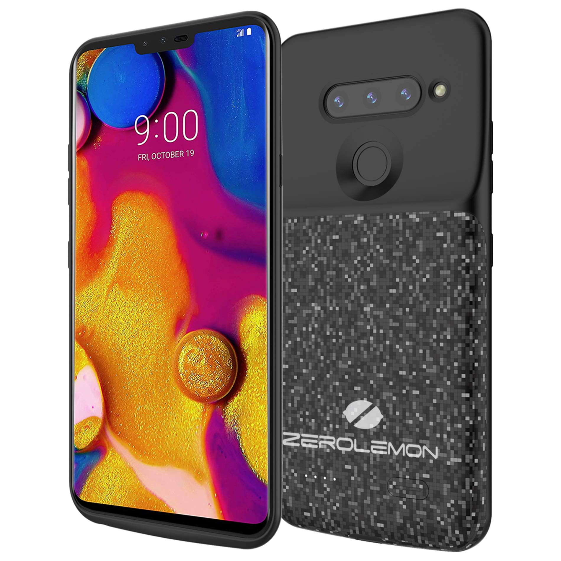 LG V40 ThinQ Battery Charging Case, ZeroLemon Slim Power 5200mAh Extended Battery with Soft TPU Full Edge Protection Case for LG V40 ThinQ - Black