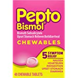 Pepto Bismol Chewable Tablets, 48 Ct, Nausea, Heartburn, Indigestion, Upset Stomach, and Diarrhea Relief, Original Flavor