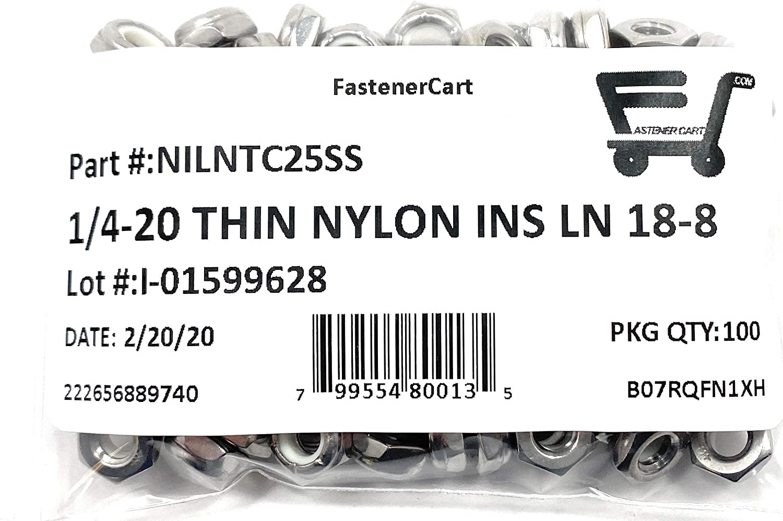 1//4-20 Thin Pattern Nylon Insert Jam Nuts 18-8 Stainless Steel 100 Pcs