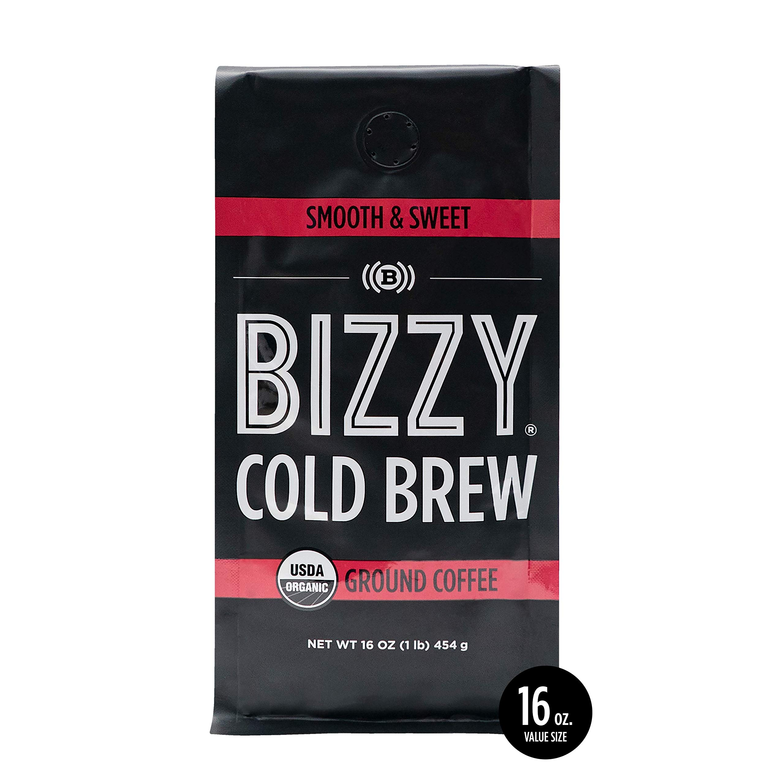 Bizzy Organic Cold Brew Coffee | Smooth & Sweet Blend | Coarse Ground Coffee | 16 oz by Bizzy