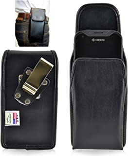product image for Kyocera DuraForce PRO 2 for Rugged Leather Holster Pouch, Metal Clip- Turtleback Case (Black-Vertical)