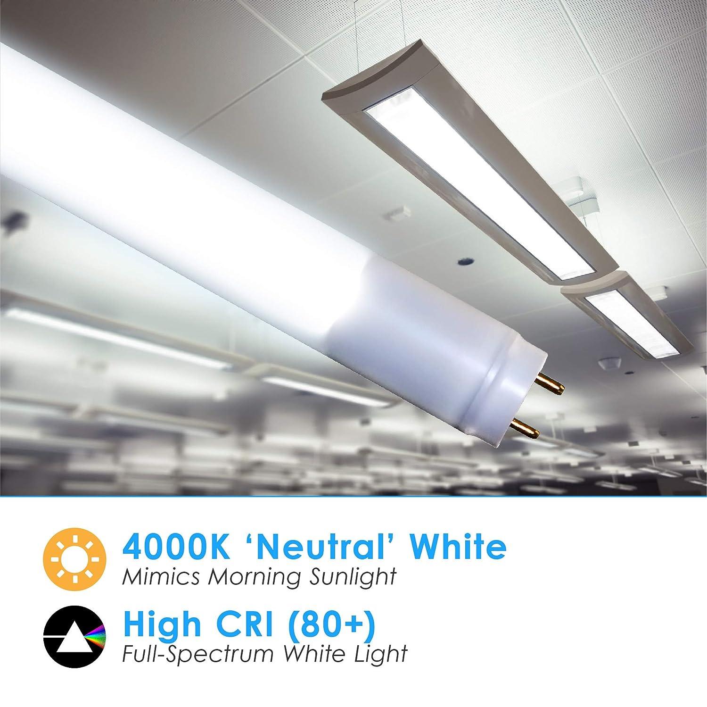 T8 4FT Type A /& B LED Tube Light Clear Lens Daylight 5000K T10 18W; 120V-277V; 2550 Lumens 30 Pack T12