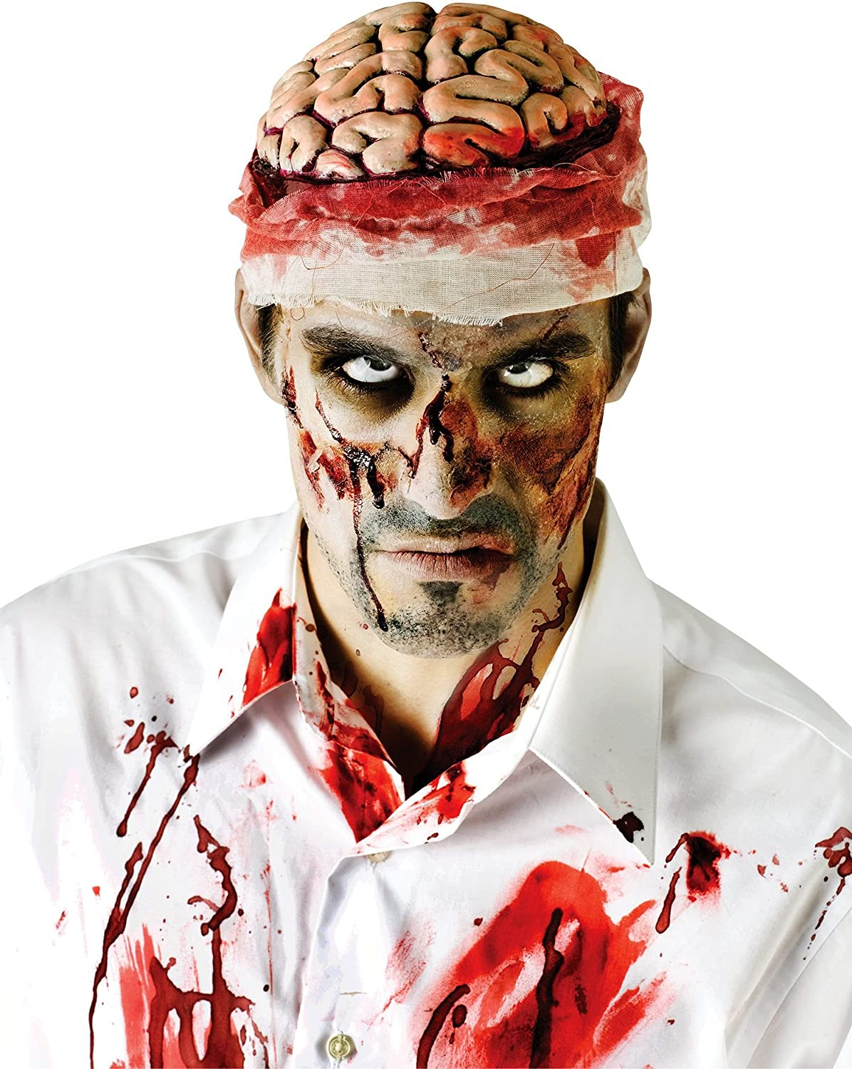 Zombie Brains Headpiece Hat Fancy Dress Up Halloween Adult Costume Accessory
