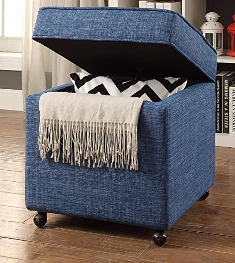 Inspired Home Harrison Linen Modern Contemporary Hidden Storage Castered Legs Ottoman Cube
