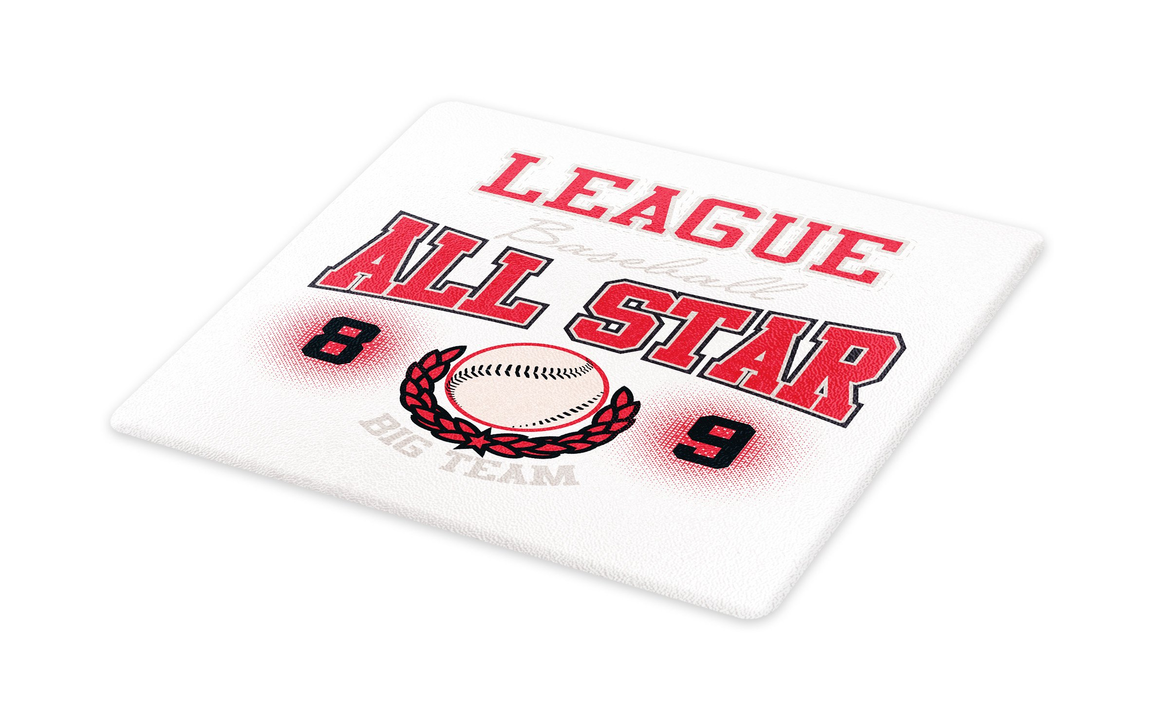Lunarable Sports Cutting Board, College Baseball Softball Play League All Star Team Champion Tournament, Decorative Tempered Glass Cutting and Serving Board, Large Size, Dark Coral Black Peach