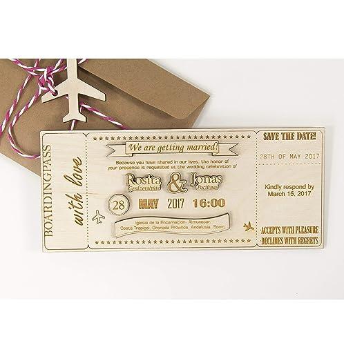 Boarding Pass Wedding Invitations.Wedding Invitations 20pcs Save The Date Invitations Plywood