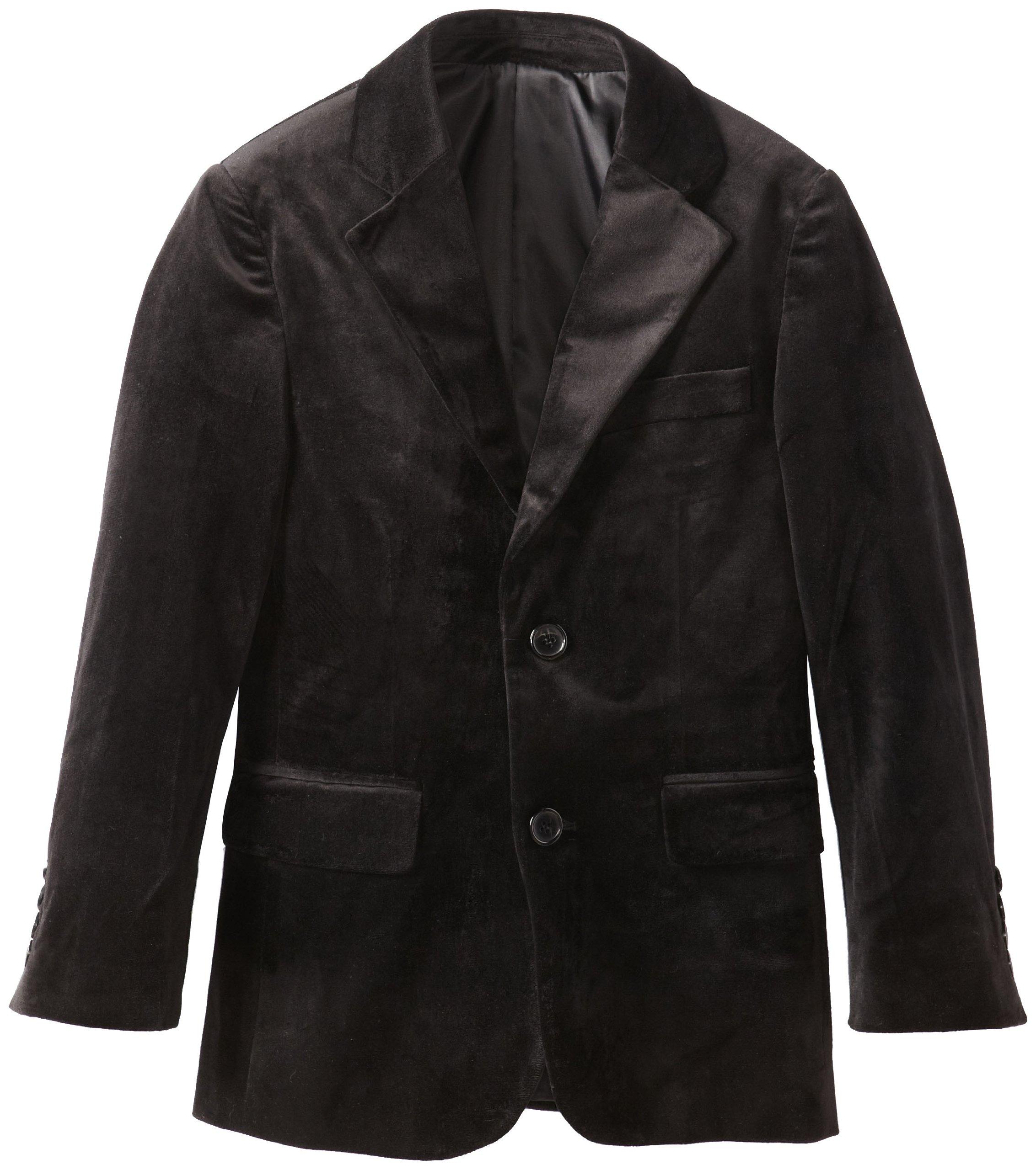Isaac Mizrahi Big Boys' Solid Velvet Blazer, Black, 8