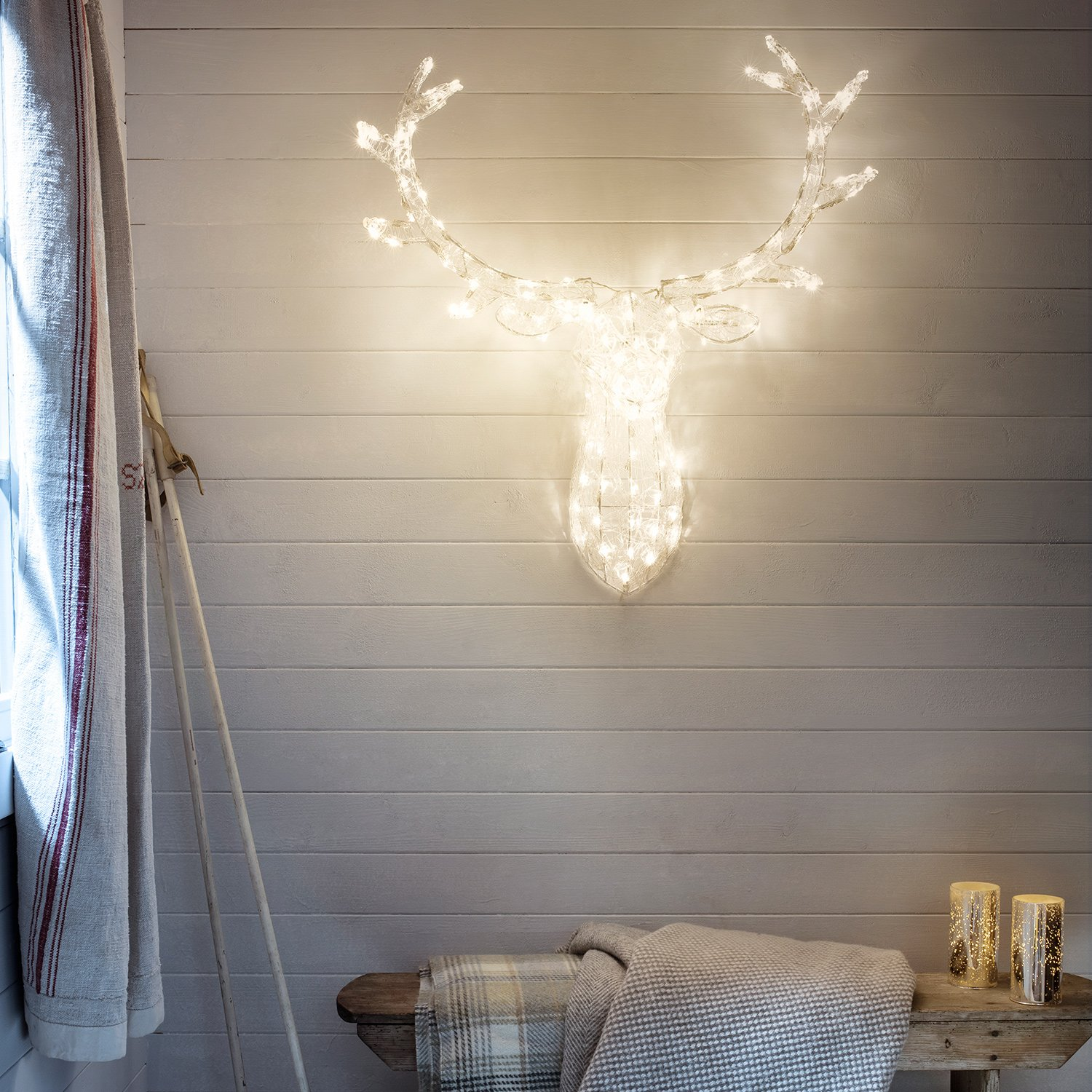 Amazon stag head christmas light decoration with 140 warm amazon stag head christmas light decoration with 140 warm white leds for indoor and outdoor use garden outdoor mozeypictures Gallery