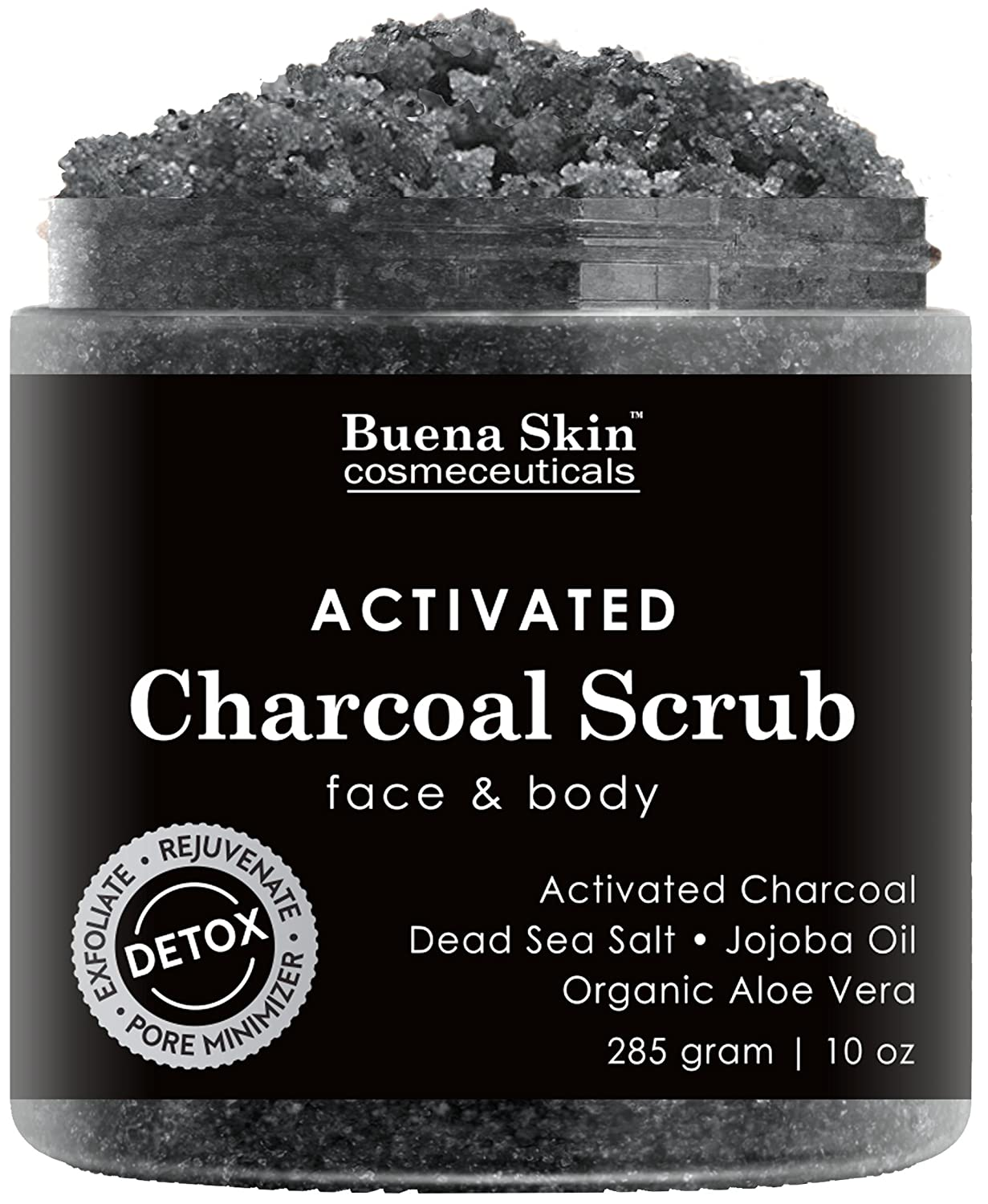 Activated Charcoal Scrub by Buena Skin | Deep Cleanser, Pore Minimizer & Reduces Wrinkles, Blackheads, Acne Scars, Anti Cellulite Treatment - Great for Face & Body 10 oz.