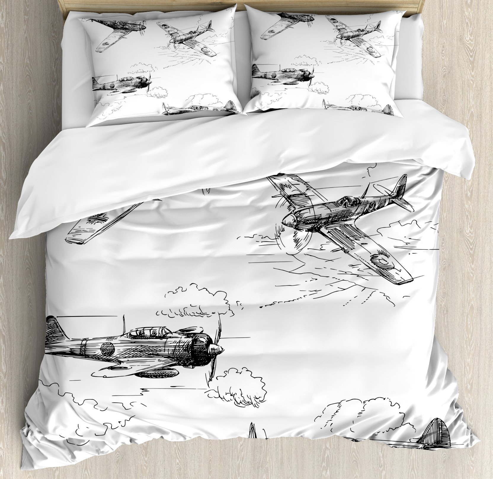 Airplane Decor Queen Size Duvet Cover Set by Ambesonne, World War Aircraft Army German Pilot Veteran Aggression Historic Vehicle Illustration, Decorative 3 Piece Bedding Set with 2 Pillow Shams
