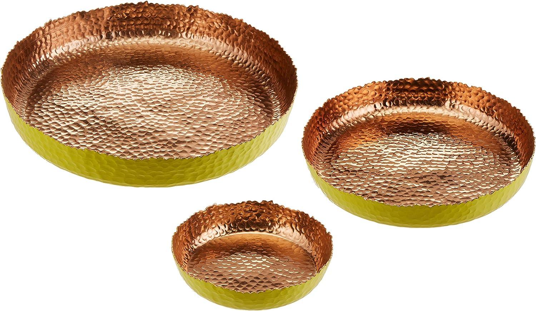 Melange Home Decor Cuivre Collection, Set of 3 Round Platters - 6