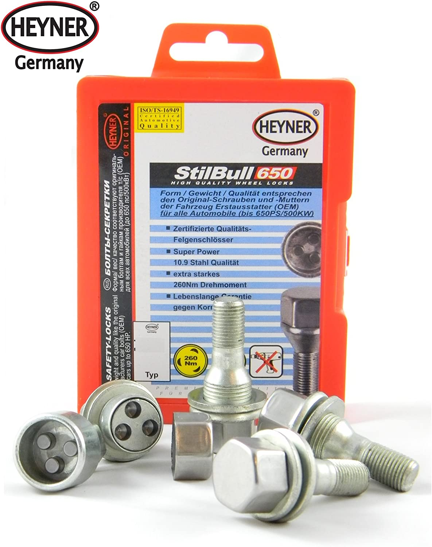 Peuget 206 Models Heyner Germany StillBull Locking Wheel Nuts Removal Key M12x1.25 Set 4 Locks Alloys Antitheft Protection Bolts ZH4