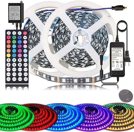 Led Strip Lights Bihrtc Rgb 600leds 32 8ft 10m Color Changing 5050 Flexible Led Rope Lighting Led Strip Lights Kit With 44 Keys Ir Remote Controller