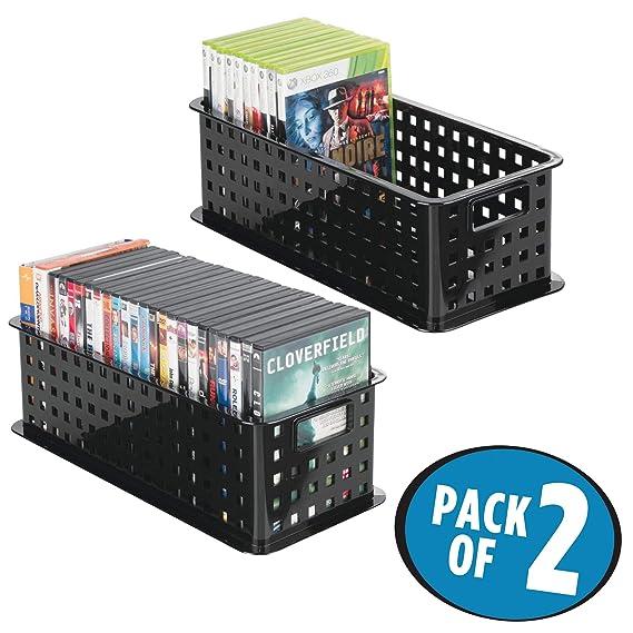 mDesign Caja de almacenaje para DVDs o CDs - Porta CD y DVD - Cajas de plástico de color negro - Caja organizadora para Blu-ray y videojuegos - Paquete de ...