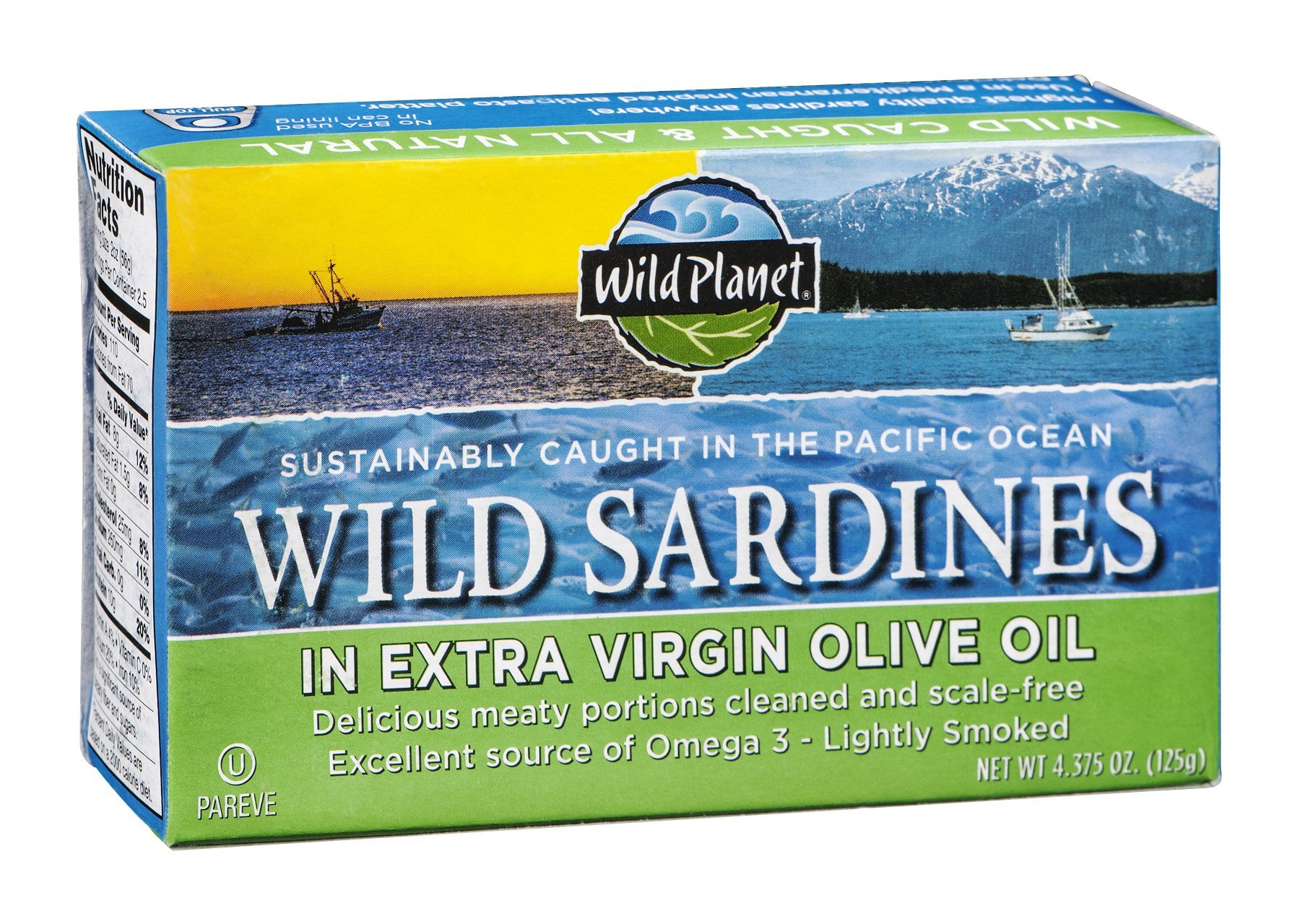 Wild Planet Sardines in Extra Virgin Olive Oil, Lightly Smoked, 4.25 Ounce Tin (Pack of 12)