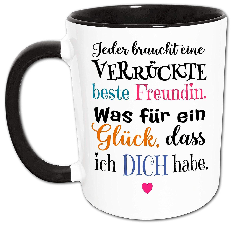 Beste Freundin Tasse mit Verr/ückt Gl/ück Spruch Geschenke f/ür beste Freundin Kaffeebecher Kaffeetasse Freundin Geschenk