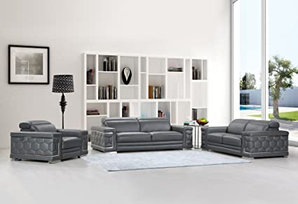 Awesome Blackjack Furniture The Usry Collection 3 Piece Genuine Italian Leather Living Room Sofa Set Dark Gray Home Interior And Landscaping Thycampuscom