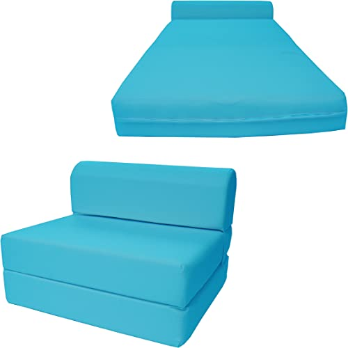 D D Futon Furniture Turquoise Sleeper Chair Folding Foam Bed Sized 6 Thick X 32 Wide X 70 Long, Studio Guest Foldable Chair Beds, Foam Sofa, Couch, High Density Foam 1.8 Pounds.