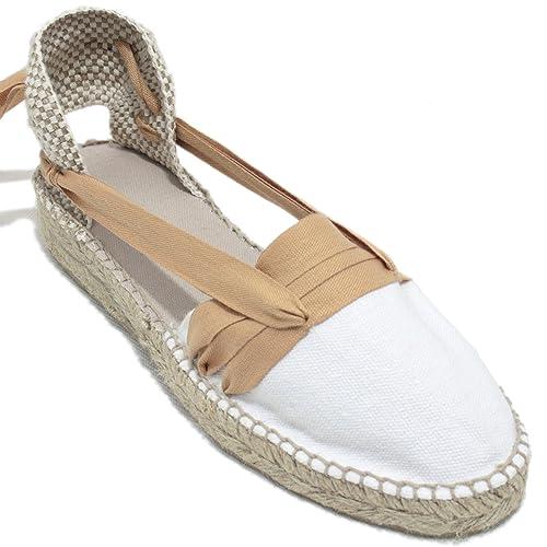 Espardenya.cat Alpargatas Hechas a Mano Tradicionales de Media Cuña Diseño Tres Vetas Color Marrón Claro: Amazon.es: Zapatos y complementos