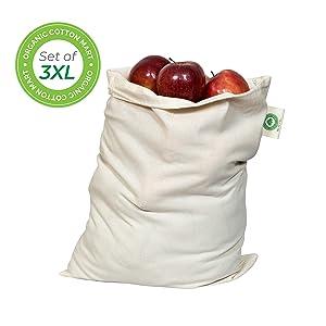 "Reusable Bulk Food Storage Bags - Root Vegetable Storage Bags - Grain bags Linen - Potato Storage Bags - Muslin Organic Cotton Reusable Bags - Washable - Set of 3 (3, X-Large - 14""x18"")"