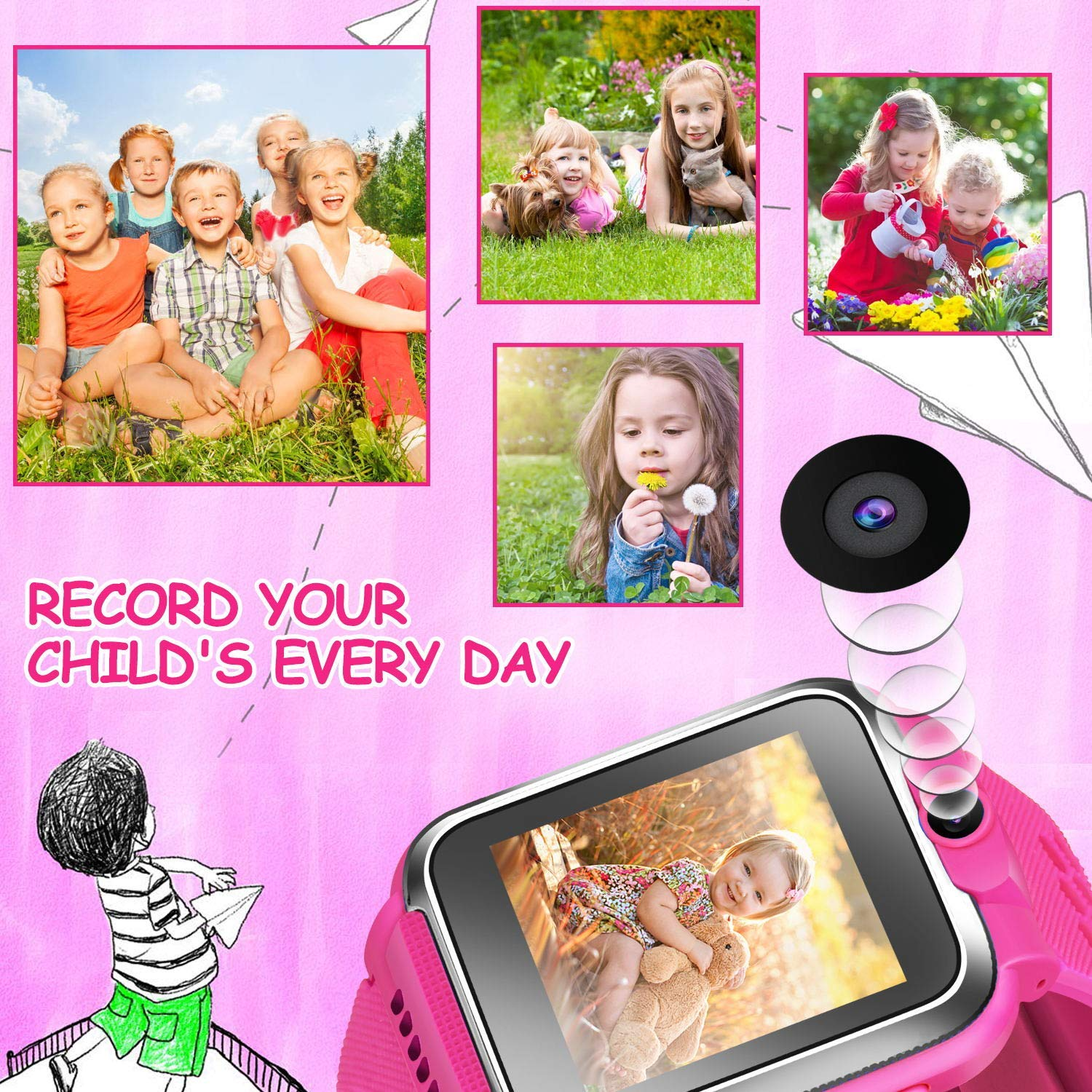 ZOPPRI Kids Game smartwatch Touch Screen Kinds of Games Kids Watch Theme Calendar Stopwatch Alarm Clock Photo Timer Multi-Function Watch Toy Gift for 3-12 Years Old boy Girl Birthday Gift (Pink) by ZOPPRI (Image #6)