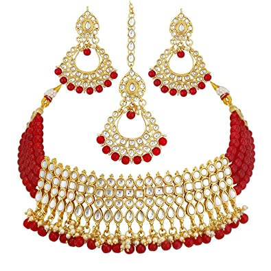 61655a0d0 Buy Gemsjewellery Red Bridal Necklace Indian Traditional Red Jewelry Set  for Women Bridal Girls Online at Low Prices in India | Amazon Jewellery  Store ...
