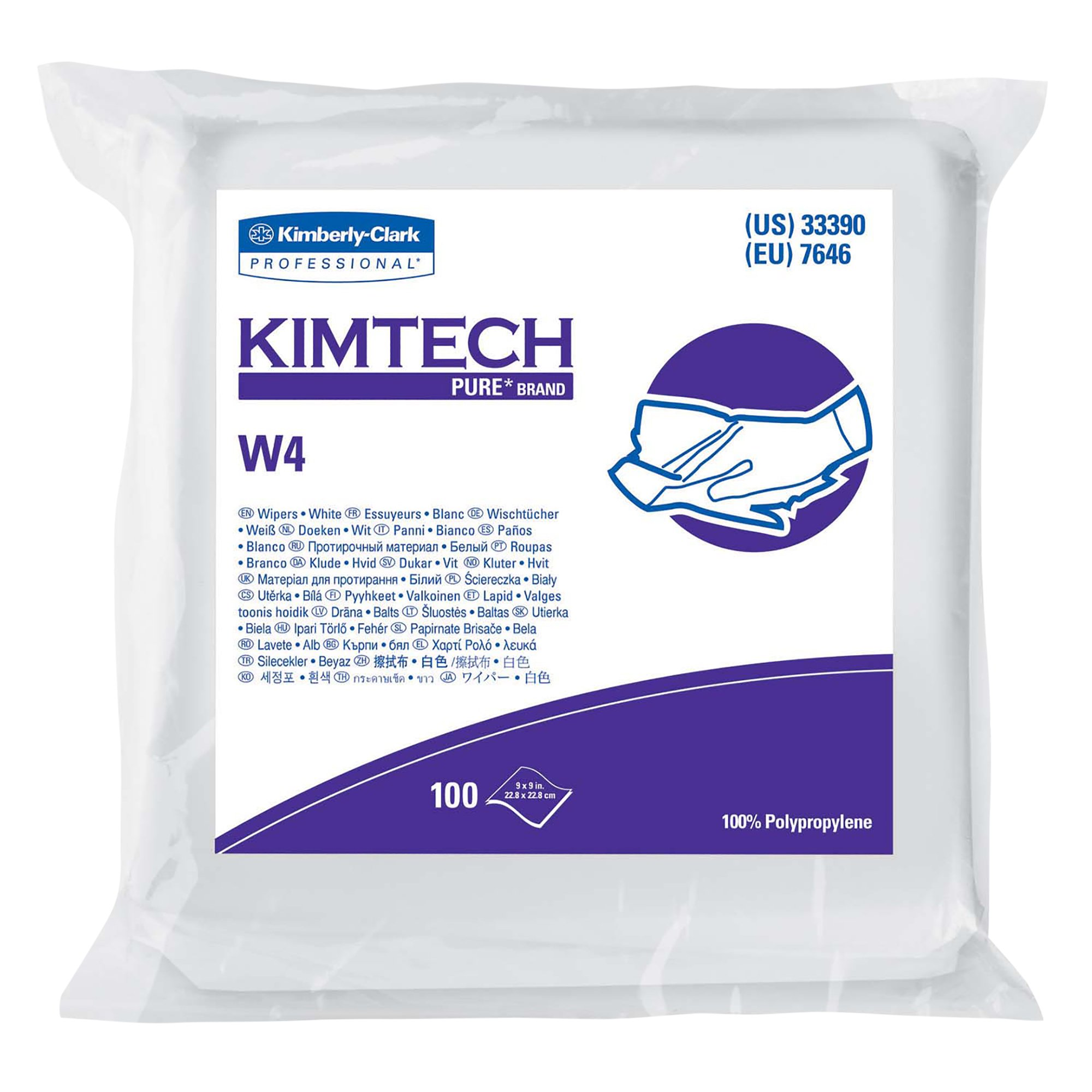 "Kimtech Pure W4 Dry Wipers (33390), with Anti-Stat Resealable Double-Bag Pouch, 9"" x 9"", White, 500 Wipes/Case, 5 Packs of 100 Wipes"