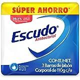 Escudo Antibacterial, Jabón de Tocador Protección Fórmula Original, 3 barras de 110gr