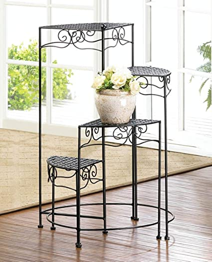 Wrought Iron Plant Stand 4 Tier Plant Shelf Plant Display Stand Metal Plant Rack Decorative Plant Stands Outdoor Planter Organizer Home Patio