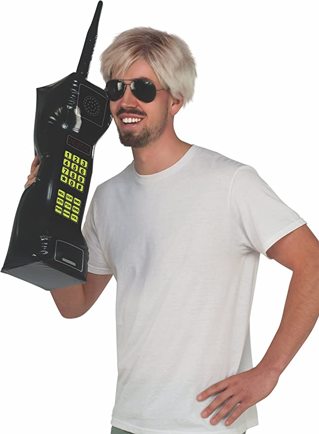 Retro 80s Inflatable Large Cell Phone Halloween Adult Costume Accessory Prop