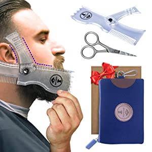 Manecode Beard Shaping Tool - Grooming Kit for Men - Lineup Guide or Adjustable Shaper Template with built it Comb and Scissors in a Waterproof Hygiene Travel Bag