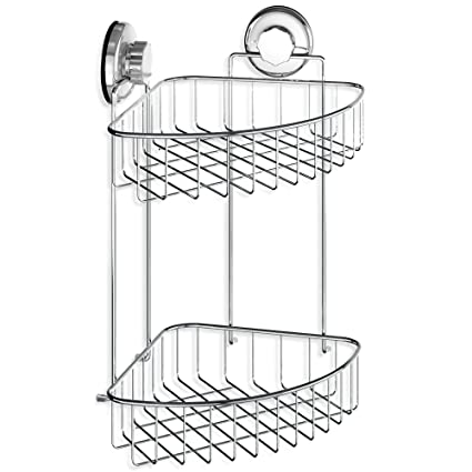 Elegant HASKO Accessories Suction Cup Corner Shower Caddy | 304 Stainless Steel  Polished Chrome Shelf 2 Tier