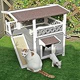 Petsfit Katzenhausfür Freie, Hölzerne Katzen Hütte, Doppel-Decker Design, Rot und Weiß