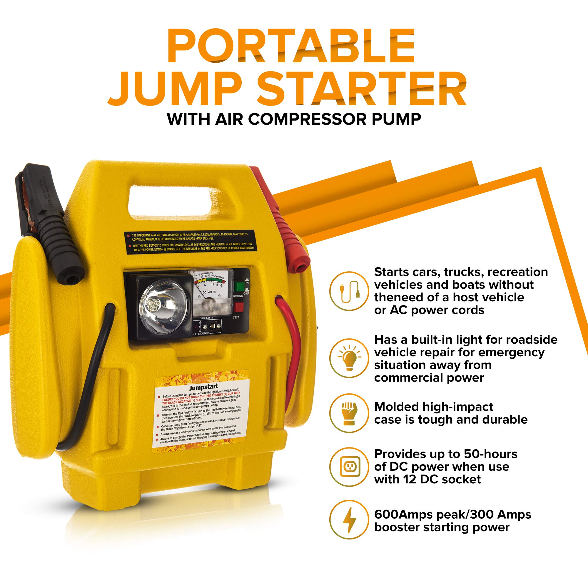Fifth Gear® 4 in 1 12V Portable Car Jump Starter Air Compressor Battery Start Booster Charger Leads - Buy Online in Bahamas. | fifth gear Products in Bahamas - See Prices, Reviews
