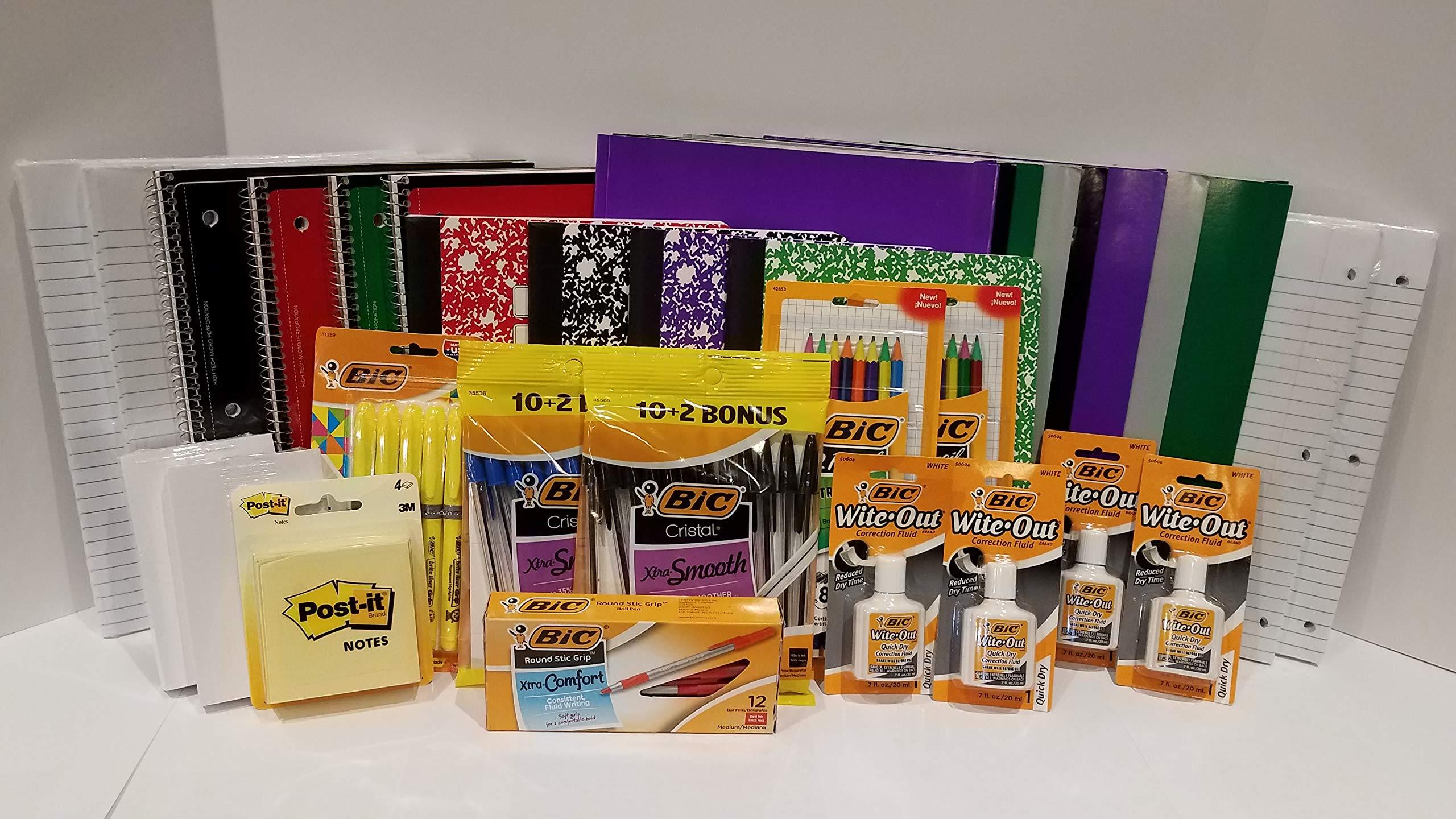 School Supplies Bundle: 33 School Essentials for All Grades - Wide Ruled Paper, Pens, Pencils, Notebooks & More