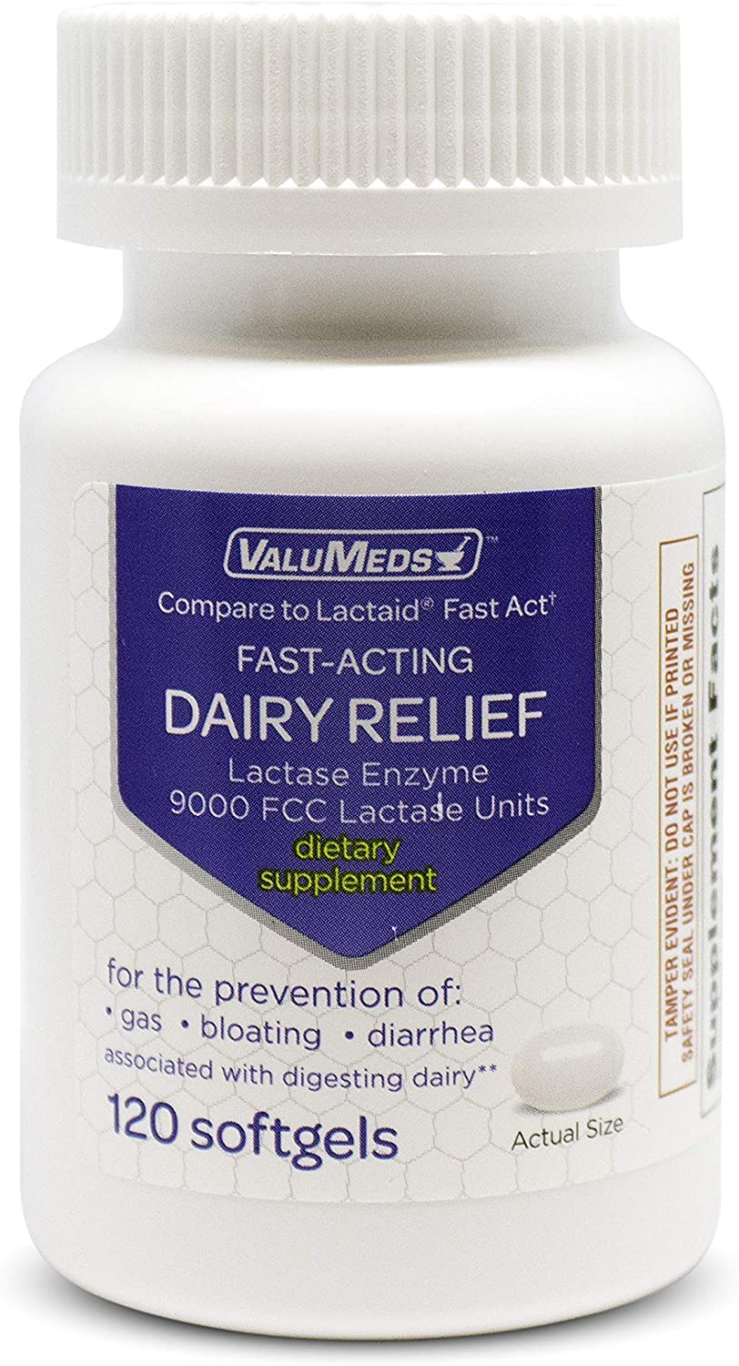ValuMeds Fast Acting Dairy Relief Lactose Enzymes, 120 Softgels, Help Prevent Gas, Bloating, Diarrhea, Intolerance, or Sensitivity, Comparable to Lactaid: Health & Personal Care