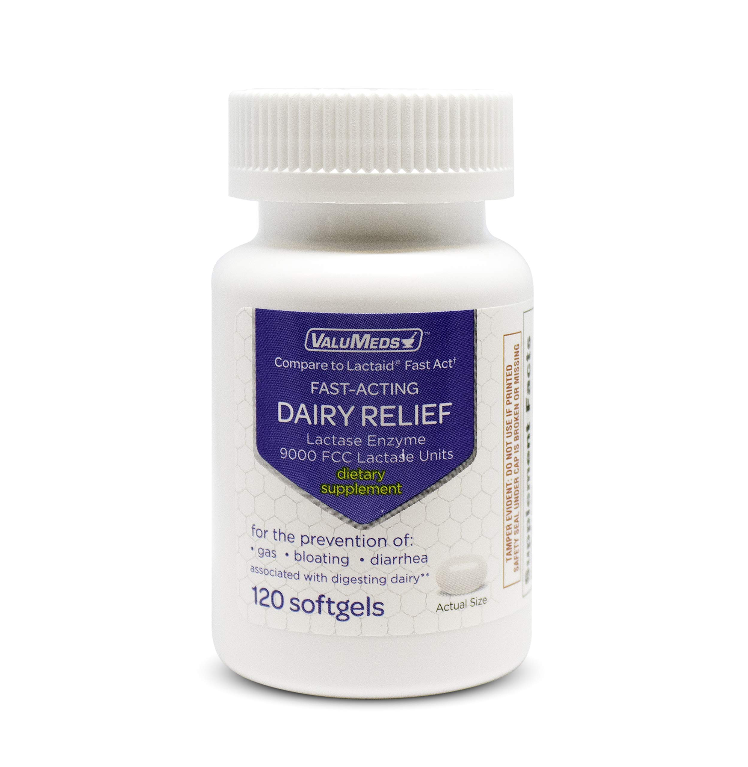 ValuMeds Fast Acting Dairy Relief Lactose Enzymes, 120 Softgels, Help Prevent Gas, Bloating, Diarrhea, Intolerance, or Sensitivity, Comparable to Lactaid by ValuMeds