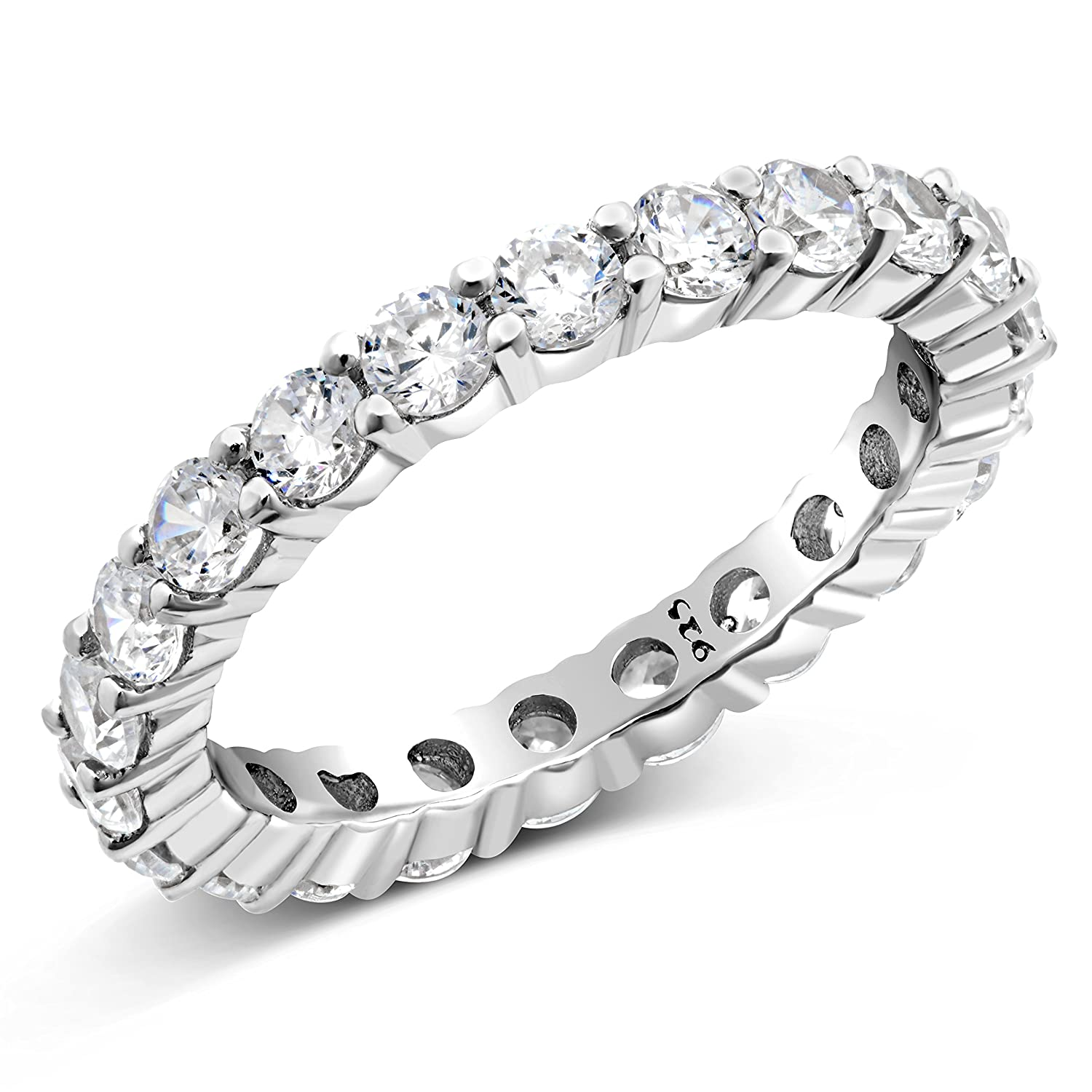 3.50MM Sterling Silver 925 Cubic Zirconia CZ Eternity Engagement Wedding Band Ring Metal Factory