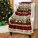 """Catalonia 圣诞羊羔绒毛毯,超柔软保暖毛绒羊绒雪花毯双面毛绒绒圣诞主题抱毯 127 厘米 X 152.4 厘米 Elf 61""""x50"""""""