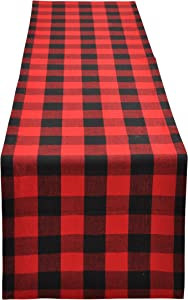 Yourtablecloth Buffalo Plaid Checkered Table Runner Trendy & Modern Plaid Design 100% Cotton Tablerunner Elegant Décor for Indoor&Outdoor Events 14 x 72 Red and Black