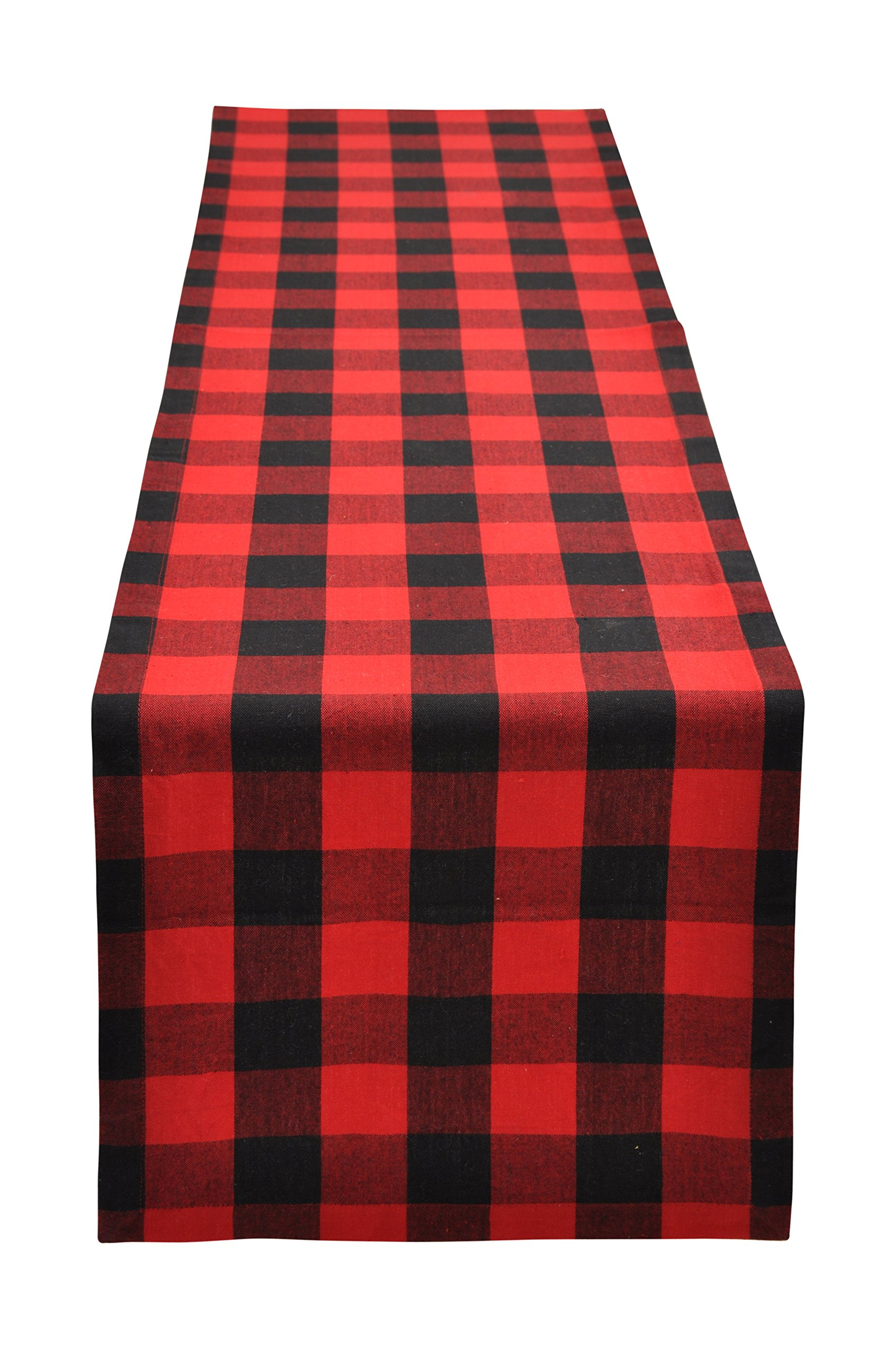 Yourtablecloth Buffalo Plaid Checkered Table Runner Trendy & Modern Plaid Design 100% Cotton Tablerunner Elegant Décor for Indoor&Outdoor Events 14 x 108 Red and Black - BEAUTIFUL TABLE RUNNER - Yourtablecloth table linen is a handsome piece of décor that will breathe extra oomph & vigour into your plain table! With its beautiful plaid design and bright attractive colours, our tablerunner is sure to spruce up any room and add just the right touch of glamor & drama! FOR ALL OCCASIONS - Be it for Christmas, Halloween, Easter, Birthday Parties, and Barbecue evenings, our long table runner will grace every occasion & add to the festive look, while its cool design proves ideal for both indoor & outdoor activities at your home, garden, and office! PREMIUM PLAID TABLE RUNNER - Made with 100 % superior grade cotton, our holiday table runner doesn't wear or tear easily, and features a strong topstitching to avoid fraying & loose ends, while its bright designs will not fade even after multiple washes, giving you many years of use! - table-runners, kitchen-dining-room-table-linens, kitchen-dining-room - 814HGIvhnAL -