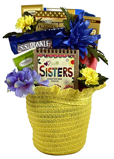To My Dearest Sister A Gift Basket For Sisters In Bonnet Shaped Straw Pot Cover