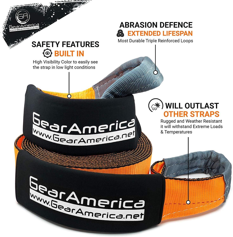 Paquete 2 paquetes 3x20+3x8bundle naranja de remolque de la correa 3 de Altas Prestaciones Lab X20+ /Árbol de ahorro del torno de correa Tipple reforzados Loops+fundas de protecci/ón GearAmerica
