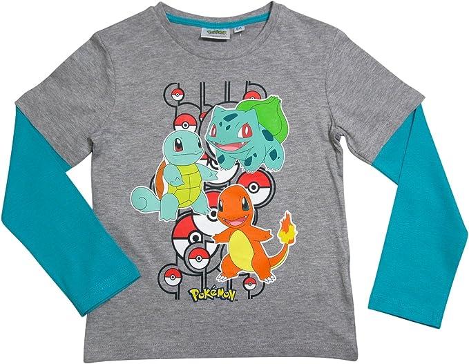 Pokèmon Pokemon - Camiseta de Manga Larga - Para Niño Gris 134/140 cm: Amazon.es: Ropa y accesorios