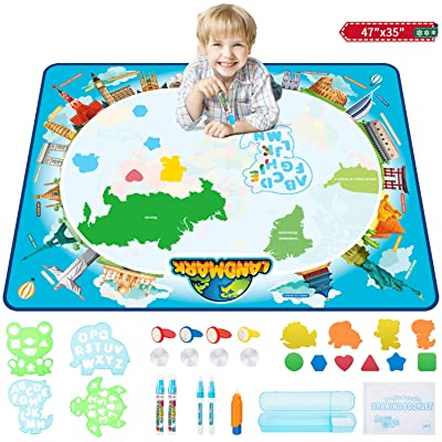 Aqua Magic Mat, 47 x 35 Inches Colorful Drawing Doodle Board, Water Doodle Magic Mat for Kids with 28 Accessories, Toddler Educational Toys for 2-8 Year Old Girls Boys (Map): Arts, Crafts & Sewing