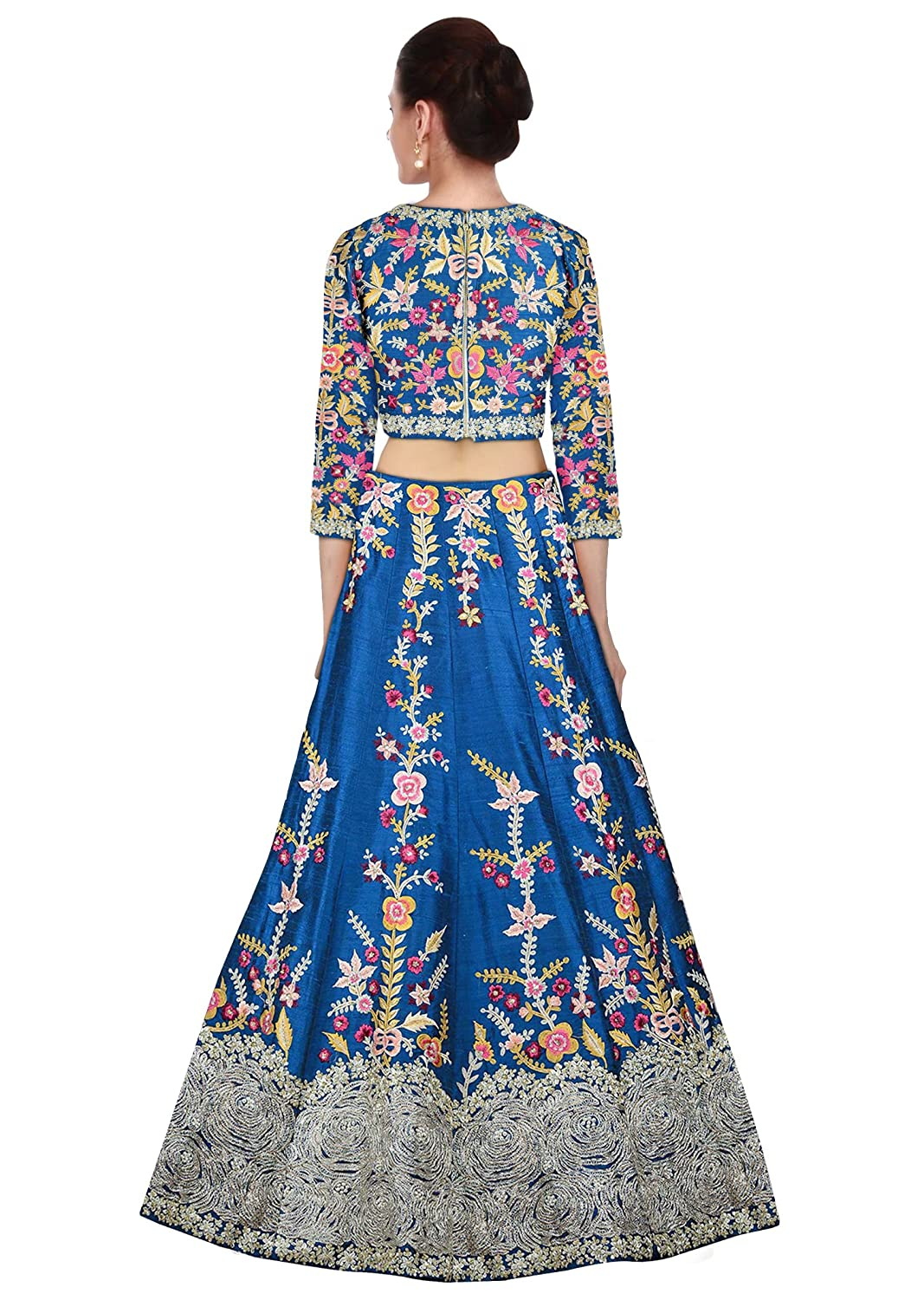 a1e173cbfa Rozy Fashion Yale Blue Raw Silk Resham Embroidered Semi Stitched Lehenga  Choli Material With Net Dupatta: Amazon.in: Clothing & Accessories
