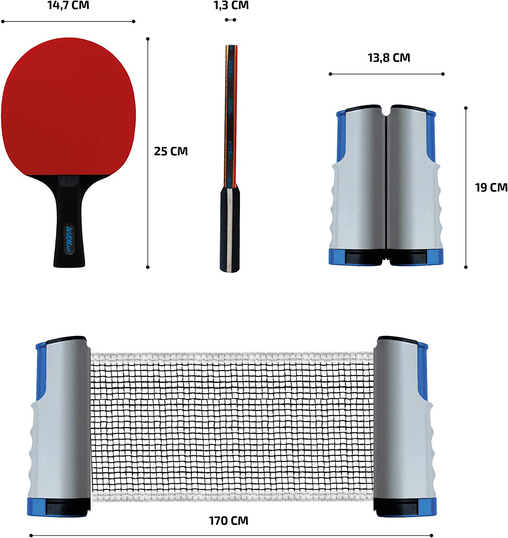 WillMoor Ensemble de 9 Tennis de Table de Tennis de Table et 6 Boules de Tennis de Table