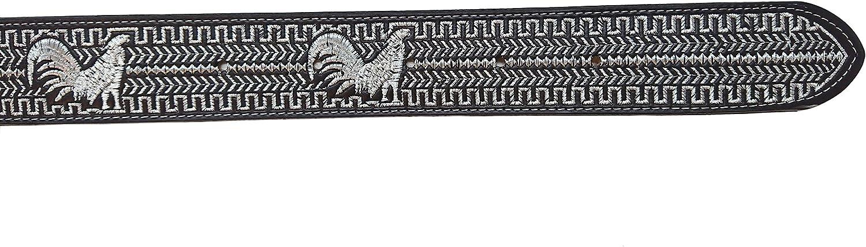 Mens Cowboy Belt Leather Color Silver Thread Cinto Charro Hilo Color Plata Rooster Design